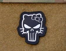 3D PVC Hello Kitty Punisher Morale Patch VELCRO® Brand Hook Backing