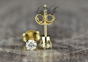 0.3ct Round Cut Natural Diamond Stud Earring Solid 14K Yellow Gold