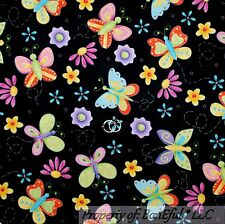 BonEful Fabric FQ Cotton Quilt Black Purple Pink Butterfly Flower Spring Swirl S