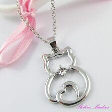 Silver Tone Rhinestone Cat Necklace 42cm