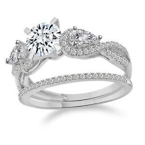 1.9 Ct Round Cut Diamond Engagement Bridal Ring band set Solid 14k White Gold