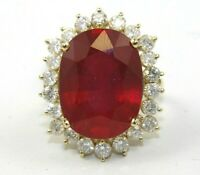 Oval Red Ruby & Diamond Halo Solitaire Lady's Ring 14k Yellow Gold 16.91Ct