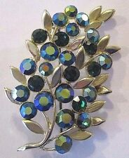 Vintage Brooch Pin Blue Green AB Rhinestone Gold Tone Metal Floral Berry Pattern