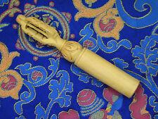 UNIQUE HAND-CARVED DORJE VAJRA SOLID WOOD SINGING BOWL MALLET STRIKER NEPAL