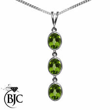Collares y colgantes de joyería con gemas verde colgante en oro blanco