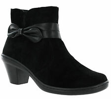 Cushion Walk Ankle Side Zip Block Heel Bow Padded Womens Ladies Boots UK 3-8