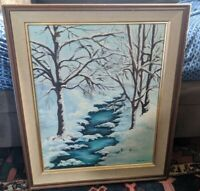 1961 Original Art Oil Painting Barbara Trimble Snow Winter Xmas Indiana Vtg mcm