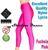 Pink Footless Dance Leggings Girls Shiny Lycra leotards ballet children (CC)