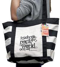 "Teacher Peach ""Teachers Rock"" Large Canvas Tote Bag with Pockets & Zipper"