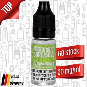Nikotin Shots 20mg für e-Liquid Base PG/VG 50/50  60 x Nikotinshots a 10ml