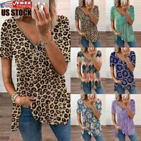 Plus Size Women Printed Tunic Top Ladies Casual Zipper V Neck Blouse T-Shirt Tee