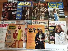 Lot 10 Vintage Crochet Needlework Magaines Knitting Embrodiery Patterns 1972-82