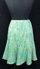 Harold's Green Aqua Tweed A-Line Flounce Women's Career Skirt Silk Blend SZ 10 C