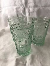 3 Vintage INSPIRED GREEN Bunny Rabbit Milk Water Glass Glasses Tumblers Easter