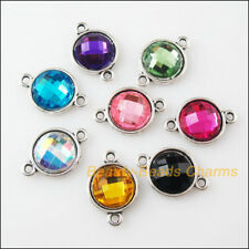 8 New Charms Tibetan Silver Acrylic Round Pendants Connectors Mixed 12x18mm