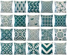 """Teal Blue Double-Sided Throw PILLOW COVER Vintage Home Decor Cushion Case 17x17"""""""