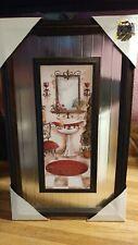 Glass Pane Bathroom Picture Mirror Victorian Style Sink w/ vase Rustic Look
