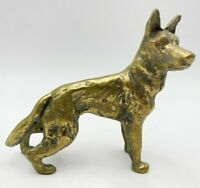 Vintage Solid Brass German Shepard Dog Figurine Ornament Collectable - F8