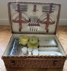 Vintage Coracle Wicker Picnic Hamper Basket Fortnum & Mason + Original Contents