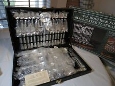 WM. Rogers & Son silverplated flatware set 63 NOS serving pieces enchanted rose