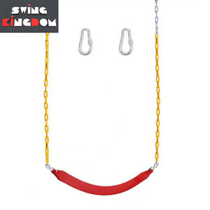 Strap Belt Seat with 1.7m Coated Chain & Hooks Red FULL SET