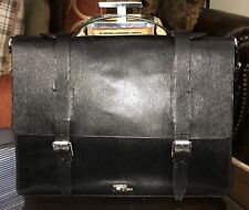 Ralph Lauren Black Label 100% Leather Business Slim Briefcase Bag Made In Italy