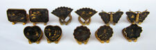 Lot of 11 Japanese Mixed Metal DAMASCENE Place Name Card Holders Various Shapes
