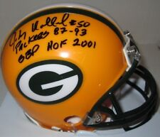 Packers JOHNNY HOLLAND Signed Riddell Mini Helmet AUTO  w/ GBP HOF 2001