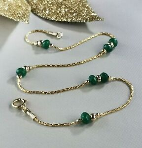 ANKLET green EMERALD Ankle Bracelet 14k Gold Chain 10'' Birthstone Anniversary