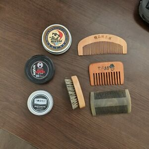 Bart Pflege Set: Kämme & Bartwachs (Balsam, Balm, Wax, Bürste)