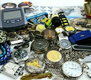 Junk Drawer Lot Vintage to Now Collectibles Knives Cuff Links Lighters Watches