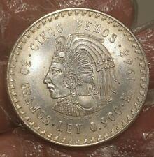 More details for mexico 5 pesos 1948 mo cuauhtemoc estados unidos mexicanos large silver coin