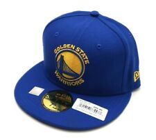 New Era Golden State Warriors 5950 Title Trim Patch Fitted Hat Blue Size 7 1/4