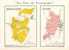 BURGUNDY BOURGOGNE VINEYARD MAP Montagny Givry AOC Côte Chalonnaise. LARMAT 1953