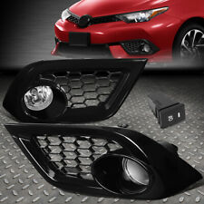 FOR 16-18 SCION TOYOTA COROLLA IM CLEAR LENS FOG LIGHT LAMP W/BEZEL COVER+SWITCH