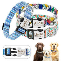 Personalized Dog Collar Metal Buckle Customized Engraved Pet ID Name Pug Pitbull