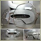 OVERSIZED VINTAGE RETRO Style Clear Lens EYE GLASSES Huge XL Gold Hexagon Frame