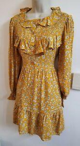 New Stunning ASOS Daisy Mustard Size 12 Bib Smock Tea Dress Vtg