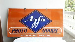 AGFA Agfa Photo Goods Double Sided Advt. Tin Porcelain Enamel Sign board E/7