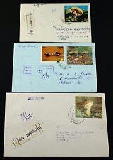 Bhutan 1987-1991 Pilze Mushrooms Funghi 3-D Lenticuar drei Reko-Briefe Indien