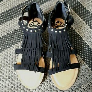 Sandals - Black Suede with Brass Accents - By Fergalicious  - Size 7
