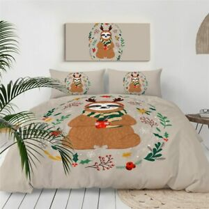 Christmas Berry Sloth Holly King Queen Twin Quilt Duvet Pillow Cover Bed Set