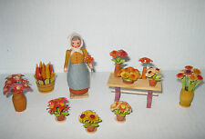8 Vintage Seiffener Kunsthandwerk Wooden Flower pots, Woman & Table with Flowers