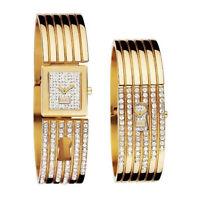 DOLCE & GABBANA Womens Keyhole Crystallized Watch, Gold Steel Bangle Bracelet