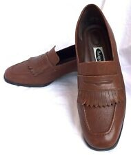 Rockport Womens Brown Block Heel Leather Penny Loafers Shoes 10M