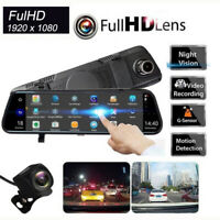10 Inch Touch 2CH 1080P Rearview Mirror Dash Cam Video Recorder Parking Monitor