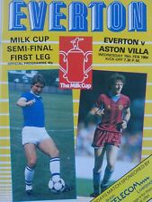 Everton v Aston Villa Milk Cup Semi Final 1st Leg 15/2/1984 MINT CONDITION