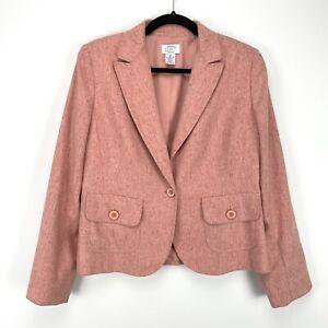 Ann Taylor Loft Virgin Wool Blend Coral Petite Blazer Size 10P