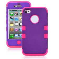 Grape Pink Armor Impact Defender Hybrid Double Cover Case for iPhone 4 4S T1