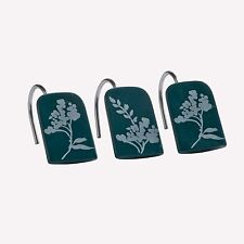 Croscill Teal Tranquility Shower Curtain Hooks Set Of 12 NIB